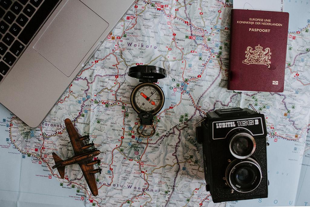 passport and map